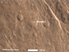 Beagle 2 Lander observed by Mars Reconnaissance Orbiter
