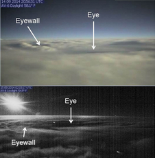 night and day images of a hurricane from above and to the side of the eye