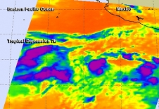 NASA's Aqua satellite captured this infrared image of Tropical Depression 7E on July 30 at 4:07 a.m. EDT.