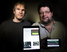 Troy Ames (left) and Carl Hostetter (right) created LabNotes, a program that will allow heliophysicist Antti Pulkkinen to command and control instrumentation via an iPad-Mini.