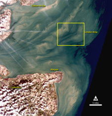 Landsat 8 image of Thames Estuary, with wind power turbines highlighted