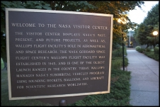 The Visitor Center's welcome sign greets guests and gives a brief history of NASA's Wallops Flight Facility. Click to enlarge.