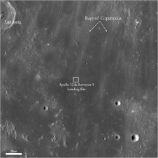 LRO image of Apollo 12 and Surveyor 3 landing sites and surrounding area