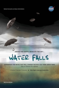 Water Falls poster showing umbrellas against a sky motif