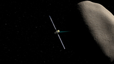 Artist concept of NASA's Dawn spacecraft orbiting Ceres during an upcoming flyby