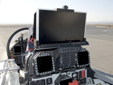 The XVS project's HD display mounted on the rear instrument panel of NASA's F-18 SRA.