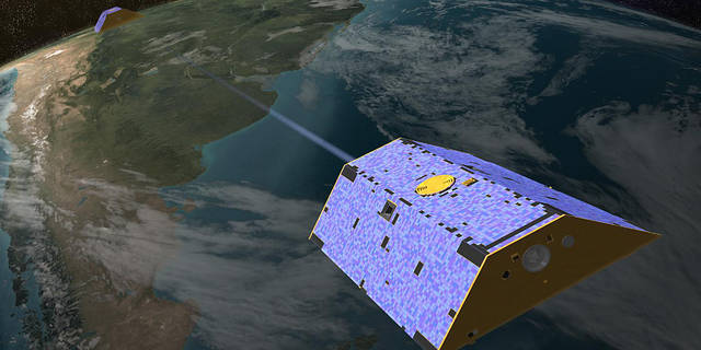Artist's rendering of the two GRACE satellites, which have providing 15 years of insights into how our planet is changing