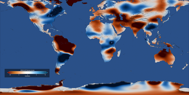 This global map of freshwater stored on land for February 2016 using data from the Gravity Recovery and Climate Experiment