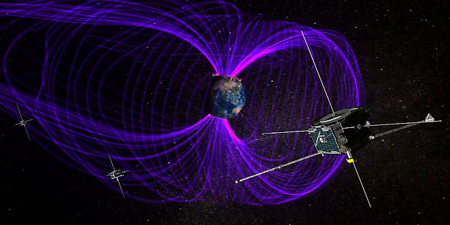 Illustraton of the THEMIS spacecraft in orbit in Earth's magnetic field.