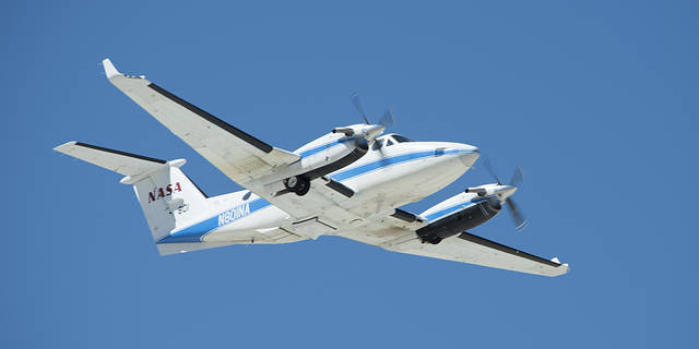 NASA's B200 taking off for an eight-hour science flight on March 12.