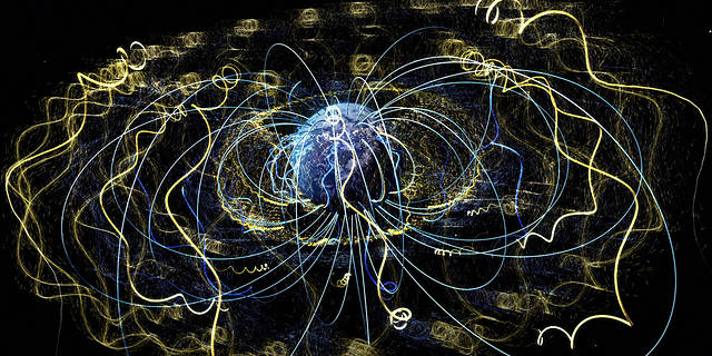 illustration of magnetic field lines and energetic particles surrounding Earth