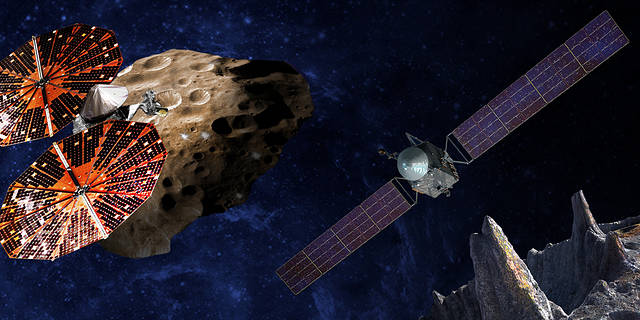 Artist's conception of the Lucy and Psyche mission spacecraft