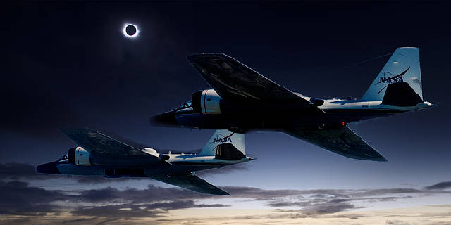 composite image of WB-57F planes and a solar eclipse