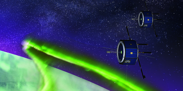 This artist's rendition shows MEME-X's dual spacecraft as they observe the aurora from an altitude like that of the ISS.