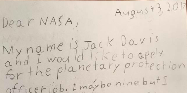 Letters exchanged between NASA and space enthusiast Jack Davis, a fourth-grade student in New Jersey.