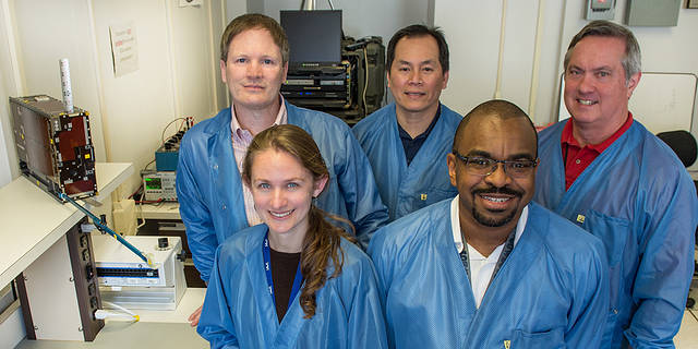 From left to right (back): Larry Kepko, Hanson Nguyen, Chuck Clagett; (front): Lauren Blum and James Fraction