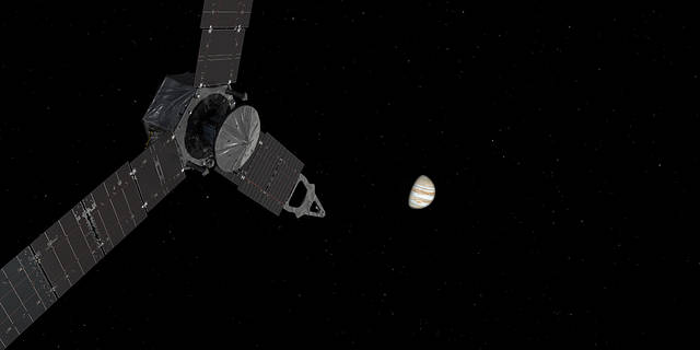 This illustration depicts NASA's Juno spacecraft approaching Jupiter.
