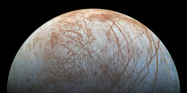 A view of Europa created from images taken by NASA's Galileo spacecraft in the late 1990s.