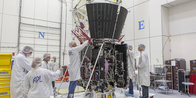 Engineers at the Johns Hopkins University Advanced Physics Laboratory in Laurel, Maryland, work on NASA's Parker Solar Probe.