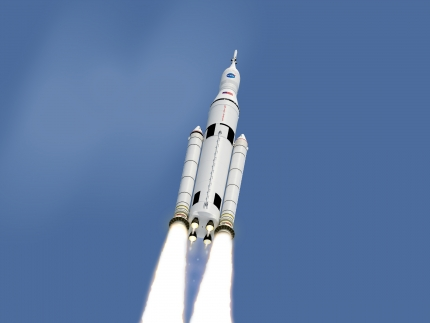 Artist Concept: Space Launch System in Flight