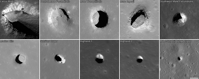 Images of lunar pits from LRO spacecraft