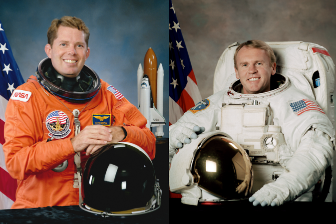 NASA Astronauts David Leestma and Andrew Thomas
