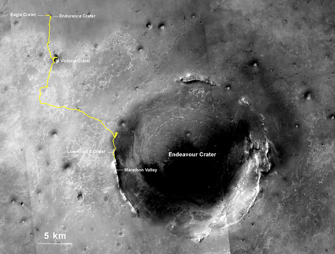 Trek of NASA's Mars Exploration Rover Opportunity