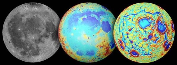Earth's moon as observed in visible light (left), topography (center, where red is high and blue is low), and the GRAIL gravity gradients