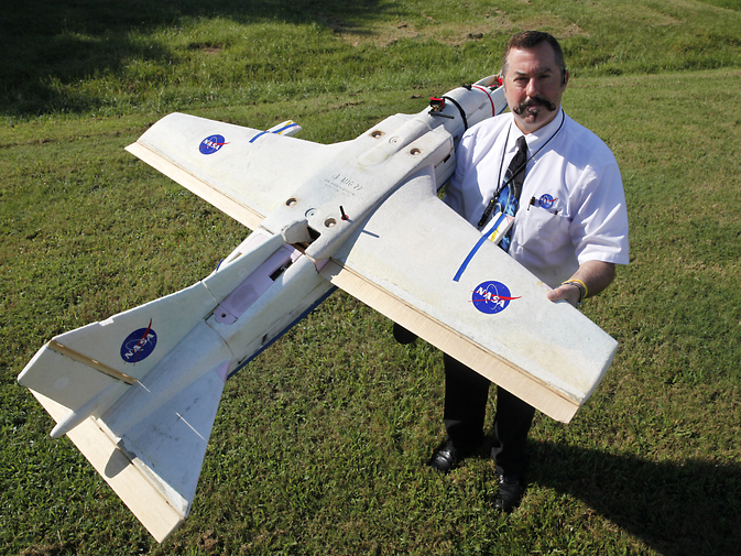 NASA researcher Mike Logan plans to use this small unmanned aerial vehicle to check for fires at a Virginia-North Carolina wildlife refuge