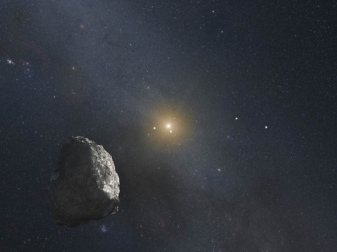 This is an artist's impression of a Kuiper Belt object (KBO), located on the outer rim of our solar system at a staggering distance of 4 billion miles from the Sun.