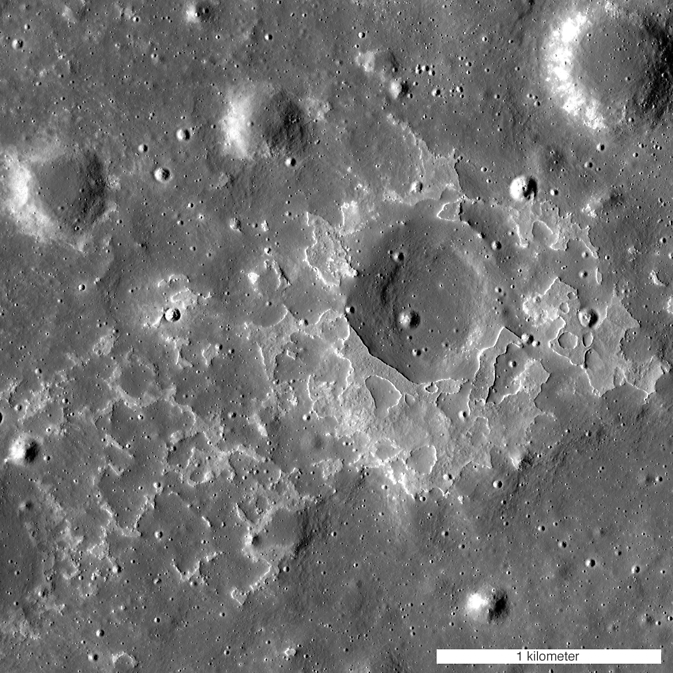 The feature called Maskelyne is one of many newly discovered young volcanic deposits on the Moon. Called irregular mare patches, these areas are thought to be remnants of small basaltic eruptions that occurred much later than the commonly accepted end of lunar volcanism, 1 to 1.5 billion years ago. Image Credit: NASA/GSFC/Arizona State University