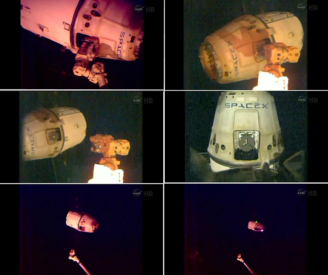 This series of images, captured by cameras on the International Space Station (ISS) show the departure from the station of SpaceX's Dragon cargo spacecraft.