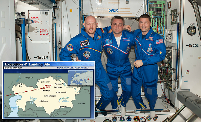 European Space Agency astronaut Alexander Gerst (left), Russian cosmonaut Maxim Suraev (center) and NASA astronaut Reid Wiseman pose for a portrait in the Harmony node of the International Space Station. The three crew members of Expedition 41 returned to Earth at 10:58 p.m. EDT Sunday, Nov. 9.