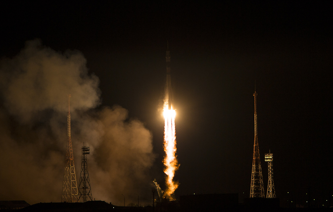 The Soyuz TMA-15M rocket launches from the Baikonur Cosmodrome in Kazakhstan on Monday, Nov. 24, 2014 carrying Expedition 42 Soyuz Commander Anton Shkaplerov of the Russian Federal Space Agency (Roscosmos), Flight Engineer Terry Virts of NASA, and Flight Engineer Samantha Cristoforetti of the European Space Agency (ESA) into orbit to begin their five and a half month mission on the International Space Station.
