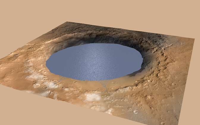 This illustration depicts a lake of water partially filling Mars' Gale Crater, receiving runoff from snow melting on the crater
