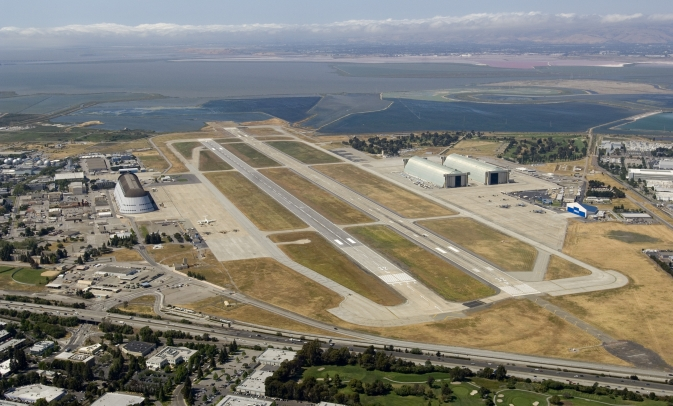 Aerial photograph of Moffett Field taken in 2008.