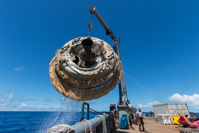 NASA's LDSD is lifted aboard the Kahana recovery vessel