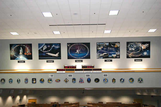 All five shuttle tributes are on display in Firing Room 4
