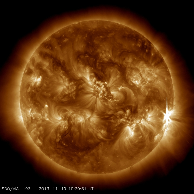 SDO image of X-class solar flare on Nov. 19, 2013