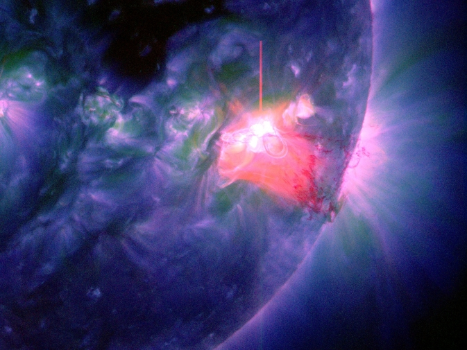 An M9.9 class solar flare was release on Jan 1, 2014, peaking at 1:52pm.