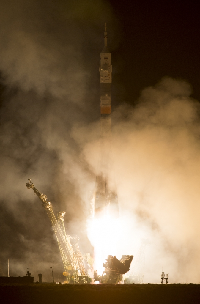 The Soyuz TMA-12M rocket launches from Baikonur Cosmodrome in Kazakhstan on Wednesday, March 26, 2014 (local time) carrying Expedition 39 Soyuz Commander Alexander Skvortsov of the Russian Federal Space Agency, Roscosmos, Flight Engineer Steven Swanson of NASA, and Flight Engineer Oleg Artemyev of Roscosmos to the International Space Station.