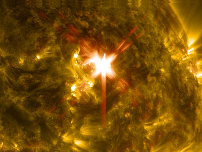 SDO captured an X1 solar flare, shown here in blended wavelengths.