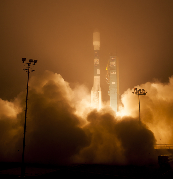 A United Launch Alliance Delta II rocket launches with the Orbiting Carbon Observatory-2 (OCO-2)satellite onboard from Space Launch Complex 2 at Vandenberg Air Force Base, Calif. on Wednesday, July 2, 2014. OCO-2 will measure the global distribution of carbon dioxide, the leading human-produced greenhouse gas driving changes in Earth's climate.