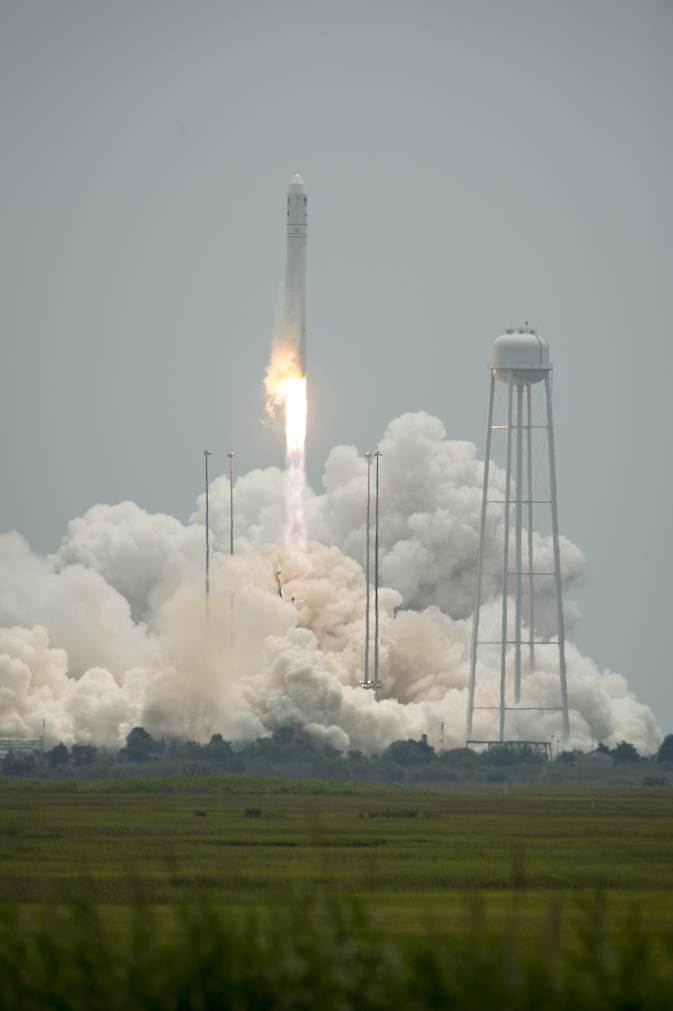 The Orbital Sciences Corporation Antares rocket launches from Pad-0A with the Cygnus spacecraft onboard, Sunday, July 13, 2014, at NASA's Wallops Flight Facility in Virginia. The Cygnus spacecraft is filled with over 3,000 pounds of supplies for the International Space Station, including science experiments, experiment hardware, spare parts, and crew provisions. The Orbital-2 mission is Orbital Sciences' second contracted cargo delivery flight to the space station for NASA.