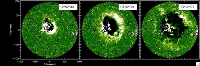 Three 195 angstrom difference images obtained by the EUVI instrument on STEREO taken on May 19, 2007.