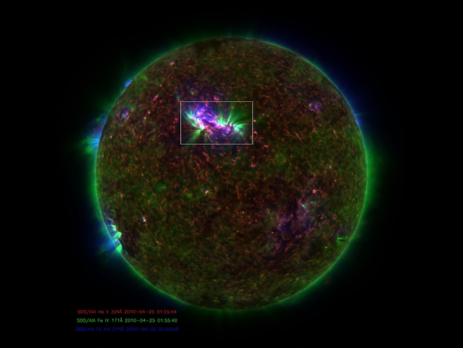 SDO image of the sun with hot spot illuminated.