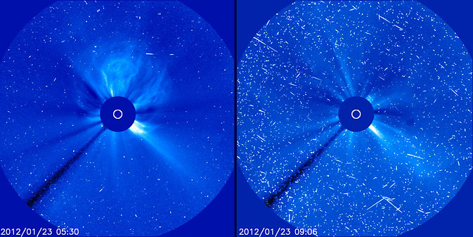 Fast-moving protons from a solar energetic particle event cause interference that looks like snow in these images from the SOHO.