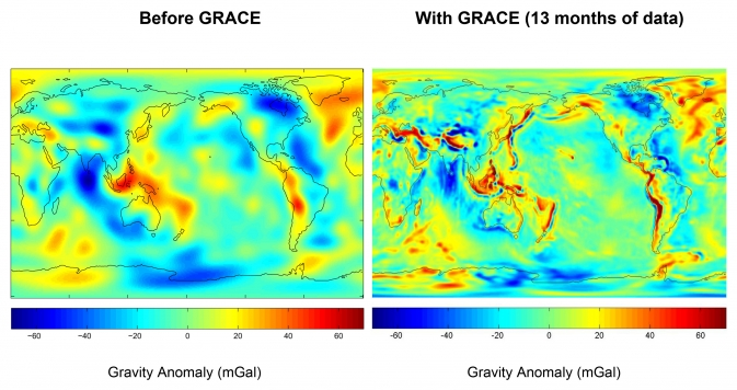 gravity anomaly maps of Earth before GRACE (left) and with 13 months of GRACE data