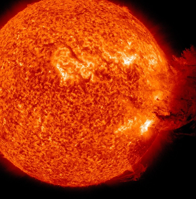 An SDO image captured on June 7, 2011, during which an eruption of solar material mushroomed up and fell down to what appeared t