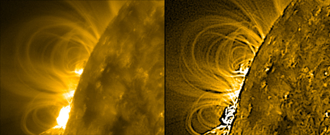 Left: The sun on Feb. 24, 2011 as observed by SDO. Right: The same image after gradient processing.